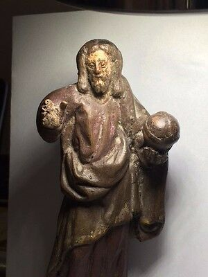Genuine ANTIQUE Poly-chrome European Painted Religious figure CHRIST