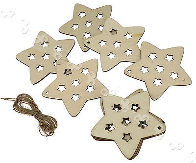 10 pcs Wooden Christmas Xmas Tree Hanging  Accessories Gift  Star