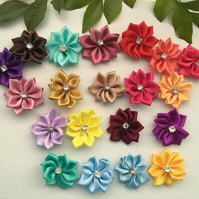10 pcs Satin Ribbon Flower w/crystal bead Sewing Wedding Appliques #213