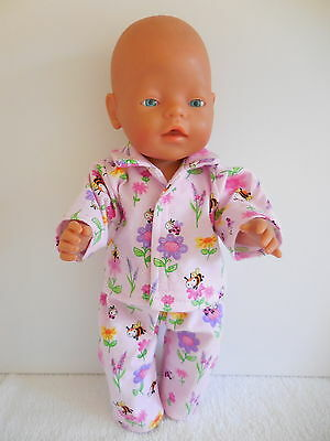 "Baby Born 17""  Dolls Clothes Pink Pyjama's With Bees And Flowers"