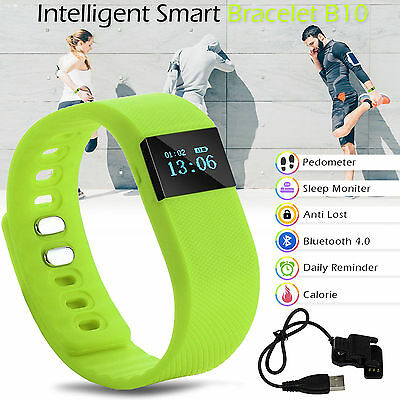Bluetooth Smart Bracelet Pedometer Watch Fitness Tracker Wrist Band Green
