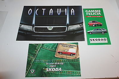 Skoda - lot 3 brochures catalogues - Octavia - Félicia - Pick-Up