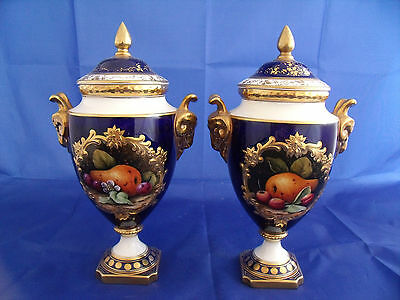 Large PAIR Coalport Fruit Painted Vases by Malcolm Harnett 24.5 cm high Perfect
