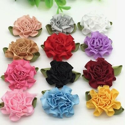 10pcs Carnations Satin Ribbon Flower Craft Decoration Applique #401