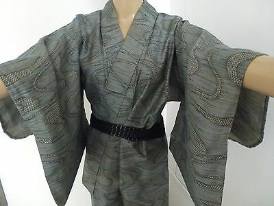 Authentic handmade grey wool Japanese kimono for women, Japan import (H358)