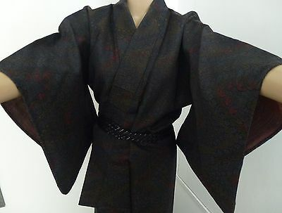 Authentic handmade linen Japanese winter kimono for women, good condition (H359)