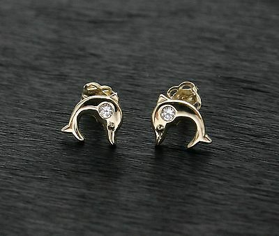 14k 585 Yellow Gold Dolphine Stud Earrings Gift Boxed
