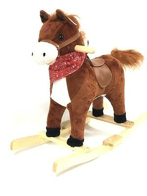 Kids Rocking Horse Light Sound Moving Mouth & Tail Wooden Toy Gift Pony H55cm