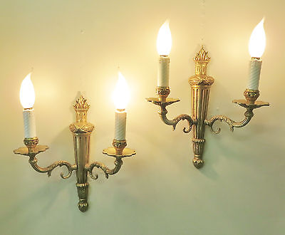 Gorgeous Pair Vintage Empire Sconces Wall Lights Quality Bronze French Appliques