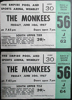 Monkees Concert Tickets (2), Wembley, June 30th,1967