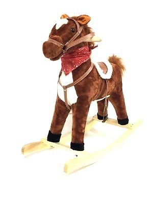 Rocking Horse Kids Sound Toy Wooden Brown Riding Plush Pony Moving Mouth 1009