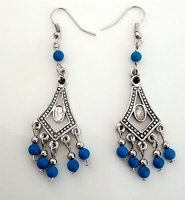 "3"" Chandelier Turquoise Tibetan Silver Hook Earrings, Women Xmas Birthday Gift"