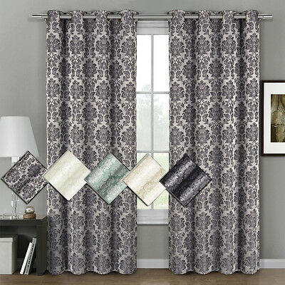 "Aryanna Jacquard Grommet Top Curtain (Set of 2) Panel 108"" W x 108"" L"