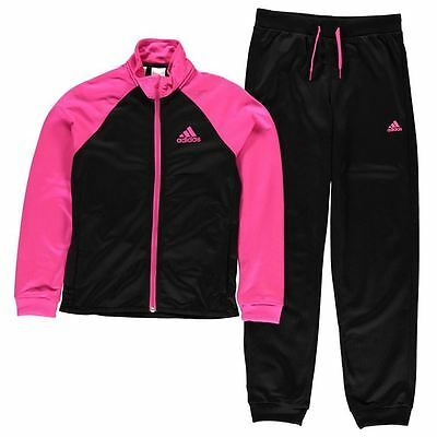 Adidas Girls Entry  Poly Tracksuit Black/Shocking Pink New With Tags