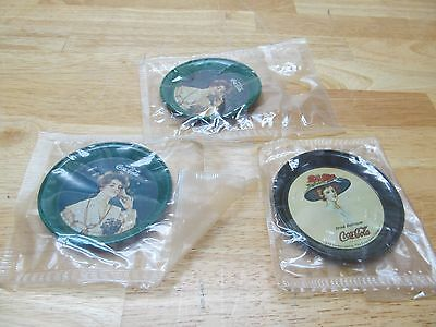 Lot of 3 NOS Vintage 1974 Memorabilia COCA-COLA Tin Ashtray - Victorian Lady
