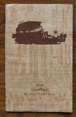 Cunard White Star Rms Queen Mary Maiden Voyage Period Ships Wood Guide Booklet