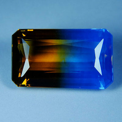 16.50ct.AWESOME BI-COLOR AMETRINE YELLOW BLUE OCT GEM
