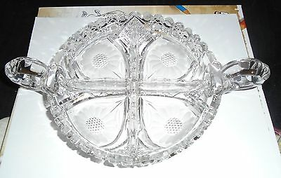 """Vintage Etched Glass Divided Double Handle Candy Dish Sunflower 7"""""""