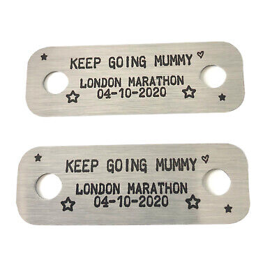 Personalised Name Marathon Race Metal Trainer Lace Tags - Running Gift Christmas