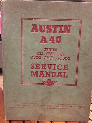 AUSTIN A40 Service Manual GS2 GS3 1954 Original England Vintage Speed