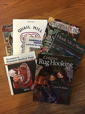 Lot of 7 Rug Hooking Books Patterns Design Primitive Quail Hill American Story
