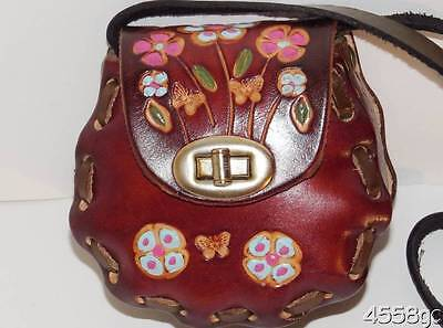 Girls Mexican Hand-Tooled Leather Mini Purse