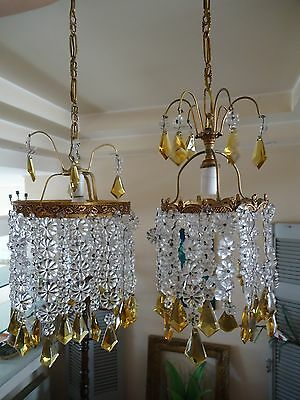 Vintage Pair Of 2 Brass Chandelier Ceiling Lights With Crystal Flowers