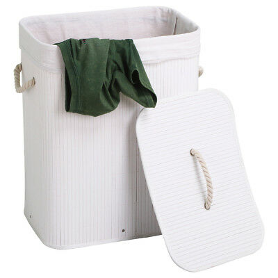 Medium Rectangular White Wicker Laundry Basket w/ Lid Hamper Bin Storage