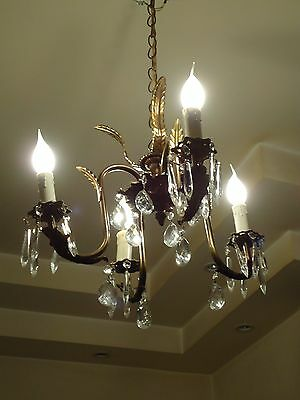 Mid Century Antique Vintage Copper Brass Chandelier Adjustable Arms & Crystals