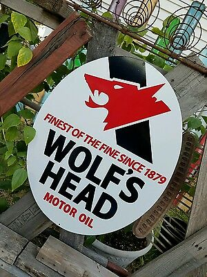 """Antique Vintage Old Style Wolf's Head Motor Oil Sign 23""""!"""