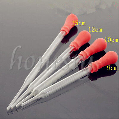 1~5X Glass Pipette Pipet Medicine Laboratory Dropper Red Rubber Head Lab Supply