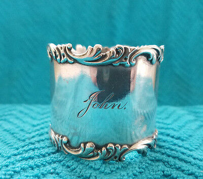 Antique Gorham Sterling Silver Napkin Ring with Scroll Design Edges