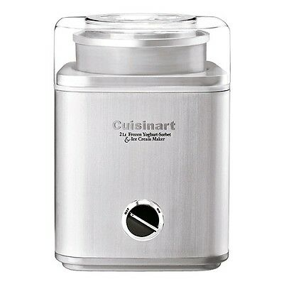 New Cuisinart Brushed Stainless Steel Ice Cream Maker 2L