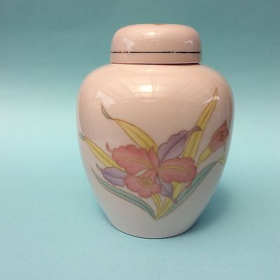 JAPANESE PORCELAIN GINGER JAR Red Iris Flowers on Pink Lidded Collectible