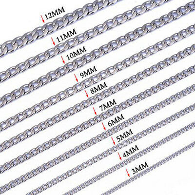 """NEW 18-36""""3-12MM NK Cool Silver 316L Stainless Steel Men's Chain Link Curb Neck"""