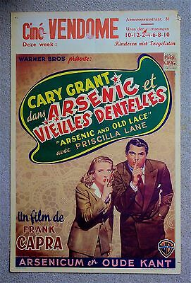 ARSENIC AND OLD LACE Gary Grant Rare VINTAGE ORIGINAL Belgian movie poster