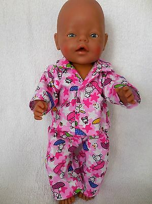 """Baby Born 17"""" Dolls Clothes Pink With Rabbits Flannellette  Pyjamas"""