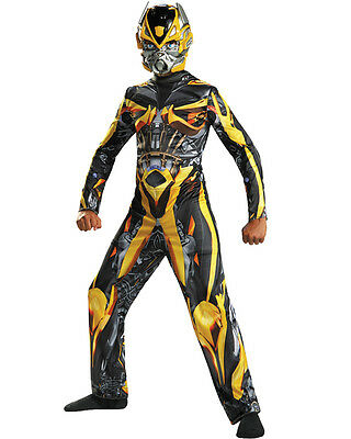 Bumblebee Halloween Transformers Super Hero Boys Kids Child Costume Muscle 7-8