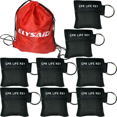 100pcs/pack  First Aid CPR LIFE KEY CPR Mask CPR AED Training Rescue Black