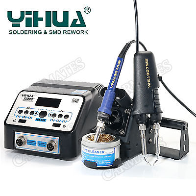 2 in1 SMD Rework Soldering hot heating  tweezers soldering Station 938BD+ AU