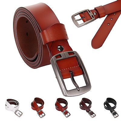 Genuine Leather Cowhide Men's Waist Belt Waistband Alloy Pin Buckle Strap New