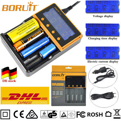 BORUiT C4 LCD AKKU-ladegerÄt for Ni-MH/Li-ion AAA 18650 26650 Headlamp Battery