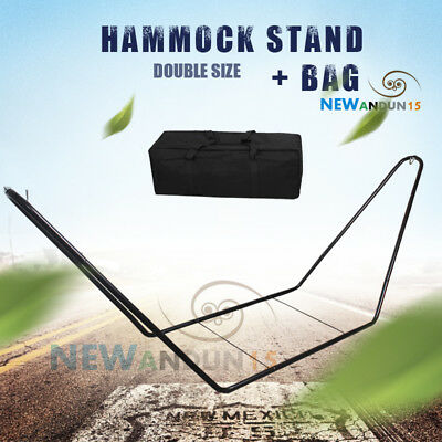 Heavy Duty Double Hammock Stand Outside Steel Frame Easily Assembled Free Bag AU