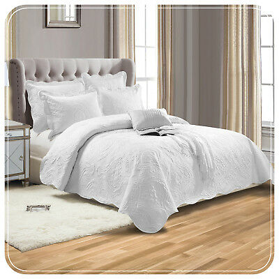 white luxury embroidered super king size quilted bedspread. Black Bedroom Furniture Sets. Home Design Ideas