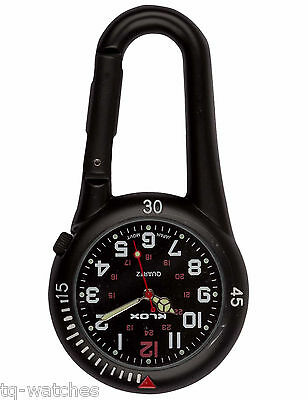 Black Clip-on Carabiner FOB Watch for Doctors Nurses Chefs Sports Hikers
