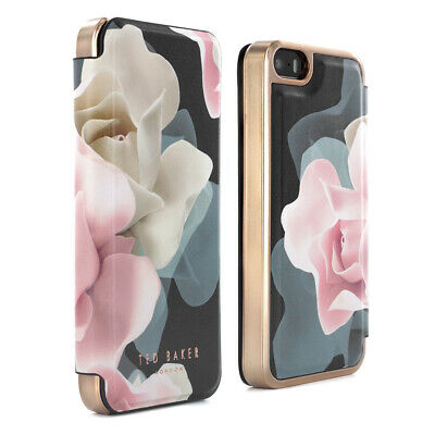 OFFICIAL TED BAKER Folio Case for iPhone SE / 5S / 5 Porcelain Rose - Black