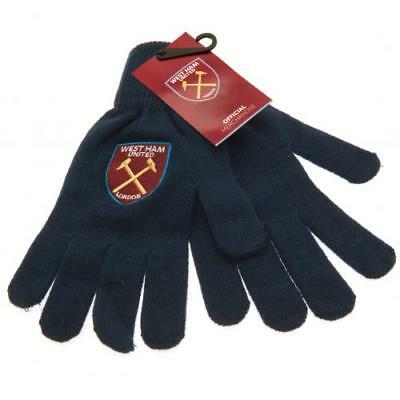 West Ham United Fc Crest Knitted Adult Hand Gloves Winter Season New Xmas Gift