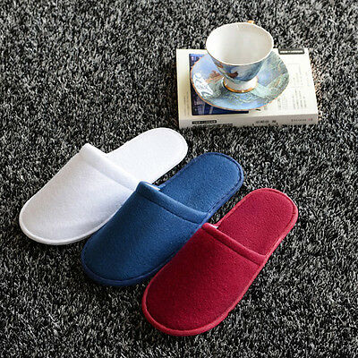 Warm Towelling Hotel Slippers Spa Guest Disposable Travel Shoes White/Red/Blue