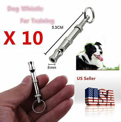 1-10X Pet Dog Training Adjustable Whistle Sound with Keychain for Dog Pet LOT CA