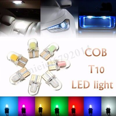2/10x T10 501 Silicone LED W5W COB 8 SMD Car Interior Side Number Tail Light 12V